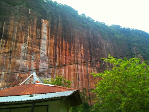 Garis-garis pada salah satu tebing lembah Harau.